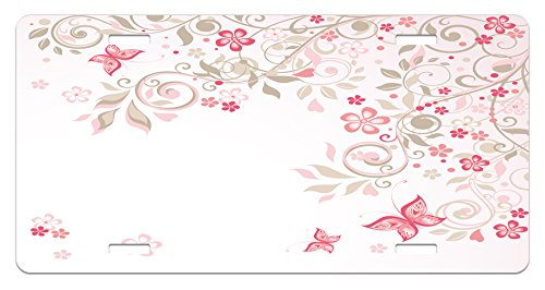 Lunarable Floral License Plate, Curly Branches Wildflowers Butterflies Dots Romantic Bridal Wedding Theme, High Gloss Aluminum Novelty Plate, 5.88