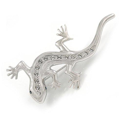 (Avalaya Rhodium Plated Clear Crystal Lizard Brooch - 55mm L)