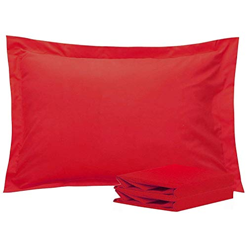 Amaze Comfort King Pillow Shams Set of 2 Red 600 Thread Count 100% Natural Cotton Envelop Closer Pillow Shams King 20X36 Cushion Cover Decorative Pillow Cover Tailored Poplin (King 20 ()