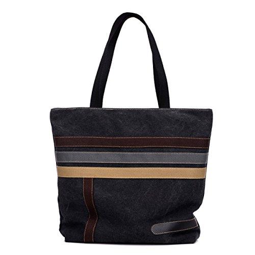 Frauen Jahrgang Leinwand Schulter Ipad Messenger Handtasche Sling Die Universelle Einsatz Tasche ,Black-OneSize