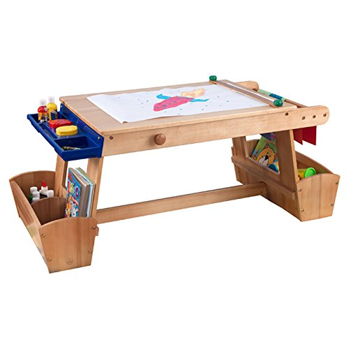 Most Requested Best Top Selling Kids Toddlers Childrens Wooden Art Studio Drawing Creation Painting Table Bench Activity Center With Paper Drying Racks Organizer Paint Brush Cups Cubbie Storage