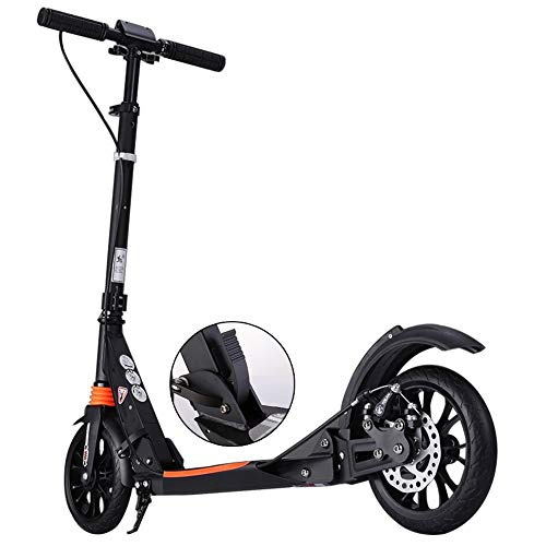 (LXLA - Adult Kick Scooter with Big Wheels Hand Disc Brake, Folding Dual Suspension Commuter Scooter, Adjustable Height, Supports 330lbs (Color : Black) )
