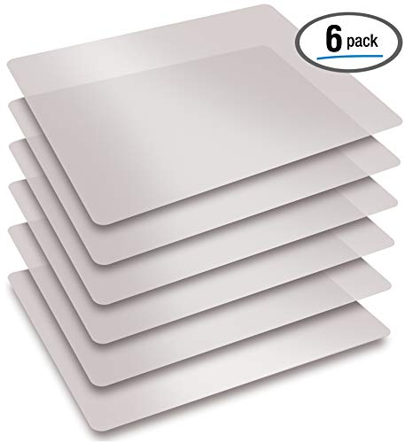 Extra Thick Flexible Frosted Clear Plastic Cutting Mats, Set of 6, by Better Kitchen Products ()