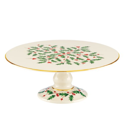 Lenox Holiday Footed Cake Plate,Ivory