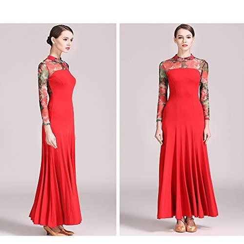 Stampa Vestito Voluminoso Large Rete Xl Del 2xl Gonna Classico Donne Rosso Costume Danza Ztxy Size Concorso Filare Latino Ventre Sociale Floreale StXqa