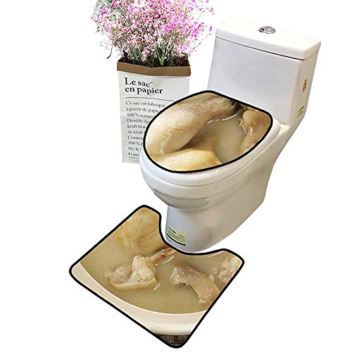 (2 Piece Bathroom Mat Pedestal Rug Bath Mat The Old Hen Pig's trotters Pot Casserole Contour Toilet Mat and Toilet lid)