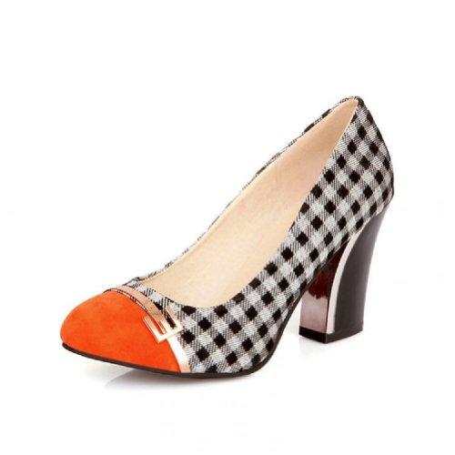 Charm Foot Vintage Damier Womens Pumps Tacco Grosso Scarpe Arancione