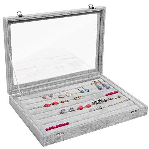 Valdler Clear Lid 7 Slots Jewelry Rings Earrings Tray Showcase Display Storage