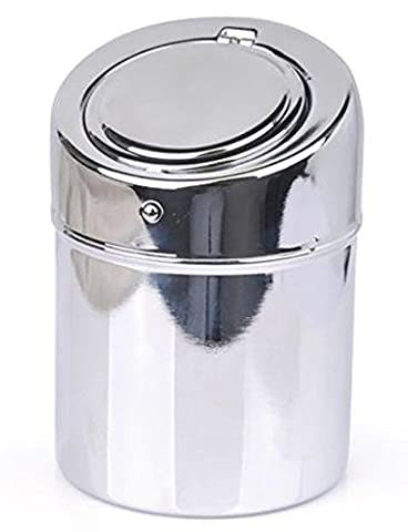 Stainless Steel Ashtray - Modern Tabletop with Lid, Cigarette Portable Ashtray for Indoor or Outdoor Use, Ash Holder for Smokers, Desktop Smoking Ash Tray for Home office Decoration, (6 Stainless Steel Trash Ring)
