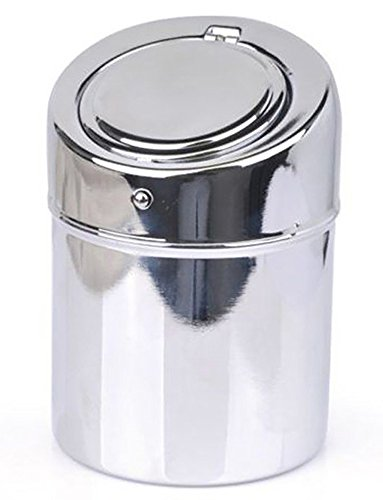 Stainless Steel Ashtray - Modern Tabletop with Lid, Cigarette Portable Ashtray for Indoor or Outdoor Use, Ash Holder for Smokers, Desktop Smoking Ash Tray for Home office Decoration, Silver (Electronic Cigarette Vega)