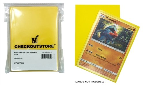 CheckOutStore 5,000 Double Matte Yellow Protective Sleeves for Trading Cards (66 x 91 mm)