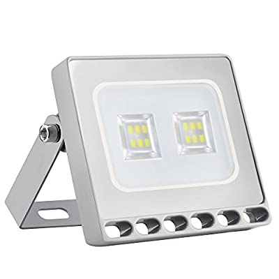Missbee 10W 20W 30W 50W 100W 150W 200W 300W 500W Led Flood Light, Thinner Lighter Outdoor Security Light, 1100Lm, Cold White 6000-6500K