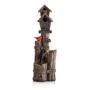 Alpine Three-Tiered Birdhouse w/ Cardinal Fountain, 35 Inch Tall