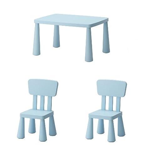 IKEA Sillas y mesa infantil «Mammut» grupo de sillas de niños para interior y exterior – de plástico resistente – Color azul claro.: Amazon.es: Bebé