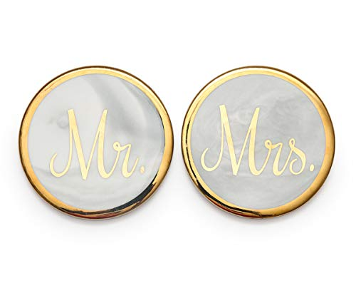 Luspan Mr Mrs Gold&Marble Stone Coasters Set of 2 - Grey Marble Stone Coasters 3.7 Inches in Diameter - Prefect Match with Mr Mrs Coffee Mugs for (Diameter Coaster)