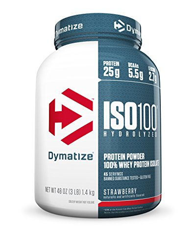 Dymatize ISO 100 Post Workout and Recovery Supplements, Strawberry, 3 Pound (Pack of 6) by Dymatize