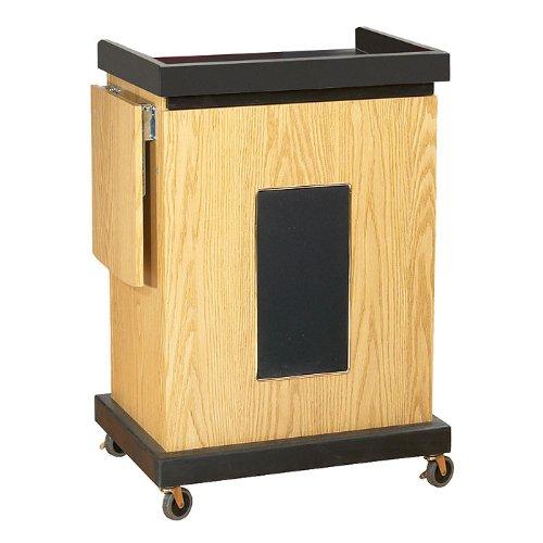 "Oklahoma Sound SCL-S-OK Smart Cart Lectern with Sound, 28"" Width x 41"" Height x 21"" Depth, Light Oak"