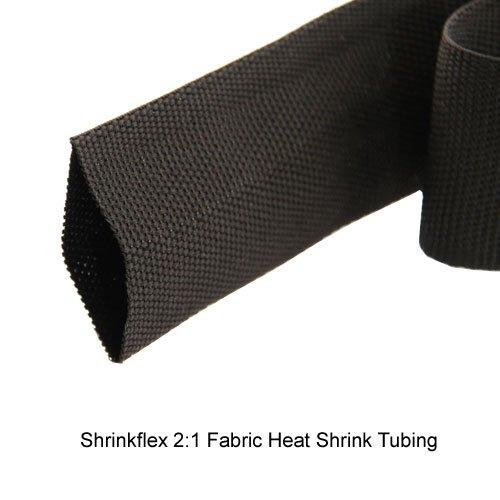 "CableOrganizer, 2:1 ShrinkFlex Fabric Heat Shrink Tubing, 1/2"" Diameter X 15 feet long, Black, Woven polyolefin and polyester yarns, Qty: 1 - Polyester Woven Fabric"