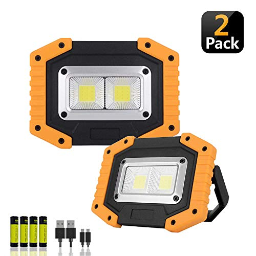 Portable LED Work Light,XQOOL Rechargeable COB Work Lamp Waterproof LED Flood Light with Stand Built-in Power Bank Job Light for Indoor Outdoor Lighting (YELLOW/2PACK)