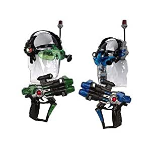 Lazer Tag Mobile Attack Blaster Set with 2 Guns & 2 Headsets (Colors May Vary, Blue/Green/Red)