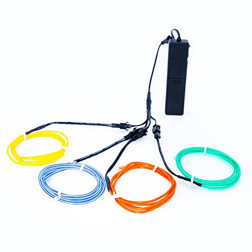 El Wire Sound Activated (GloFX Rainbow EL Wire 3 ft Complete Kit - Red Blue Green Yellow color - Sound Activated + 3 Modes 3 feet electroluminescent)