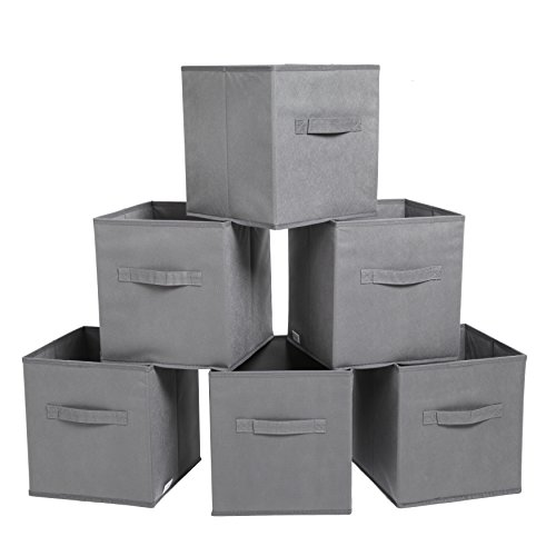 Finnhomy Foldable Storage Cube Fabric Basket Bins Cloth Folding Box Closet Drawers Container Dresser Basket Organizer Shelf Collapsible for Underwear Sock Bra Tight Kids Toy Set of 6 Black/Brown/Gray Fabric Folding Bin