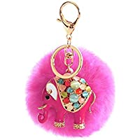 AutumnFall® Rabbit Fur Ball Elephant Keychain Bag Plush Key Ring Car Key Pendant (Hot Pink)