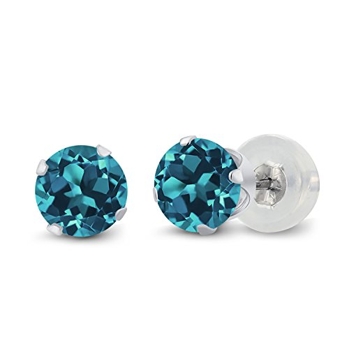 Gem Stone King 1.10 Ct Round London Blue Topaz 10K White Gold 4-prong Stud Earrings 5mm