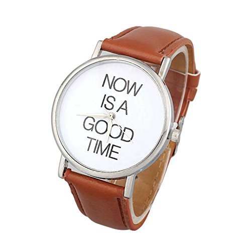 Womens Quartz Watches,COOKI NOW IS A GOOD TIME Unique Analog Fashion Clearance Lady Watches Female watches on Sale Casual Wrist Watches for Women Comfortable Faux Leather Watch-H39 (Brown)