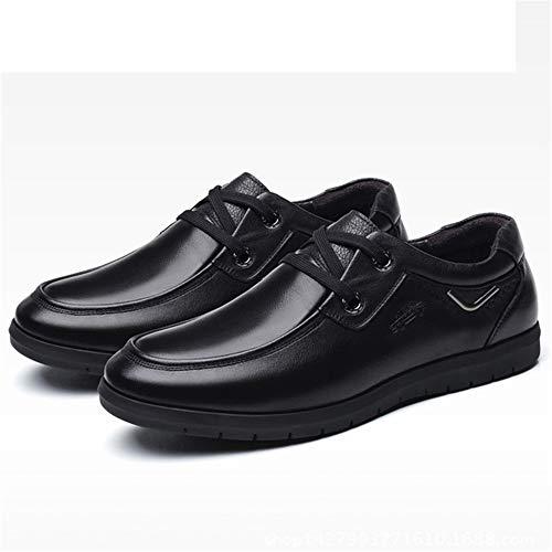 Hombre para Cuero U Formal Derby tamaño de Tip 40 Round Zapatos Color Qiusa Negro Head Negocio Genuino EU Informal gzEIXnq