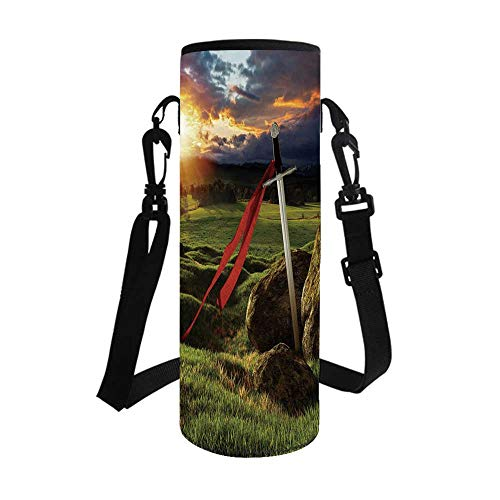 TecBillion King Stylish Bottle Sleeve,Arthur Camelot Legend Myth in England Ireland Fields Invincible Sword Image for Bottle & Vacuum Cup,3.7''L x 3.7''W x 10.2''H