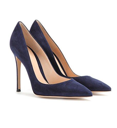 Damen Moderne EDEFS Pumps Damen Heels High Geschlossene Damen Klassische Pumps Stiletto Navy Schuhe nwCqRxCI