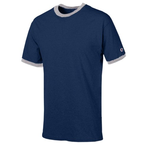 - Champion Men's Tagless Short-Sleeve Ringer T-Shirt, navy/oxford gray, X-Large