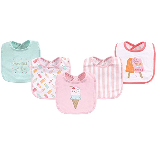 Hudson Baby Baby Cotton Drooler Bib, 5 Pack, Ice Cream, One Size