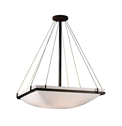 Justice Design Group Lighting PNA-9794-25-SMTH-DBRZ Porcelina Eight Light Square Bowl Pendant with - Bowls Porcelina
