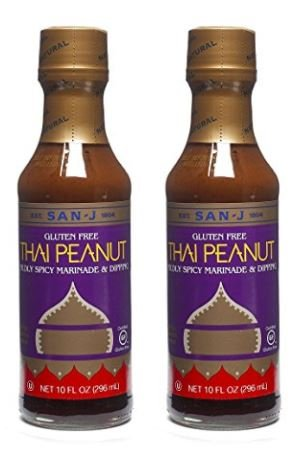 - San-J Thai Peanut Mildly Spicy Marninade & Dipping Gluten Free, 10 oz (Pack of 2)