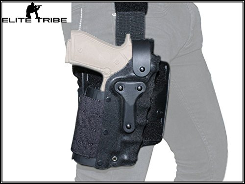 Military Paintball Gun Pistol Holster Safriland Style 3280 Pistol Model Waist Leg Holster Black by Paintball Equipment
