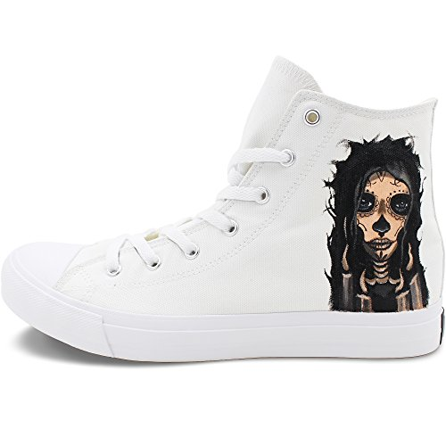 Price comparison product image Wen Fire Hand Painted Canvas Shoes Design Candy Skull Girl Unisex Adult Sneakers