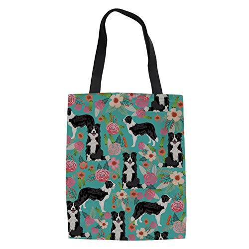 - SANNOVO Women's Canvas Bags Cotto Border Collie Floral Print Travel Tote Shopping Bag