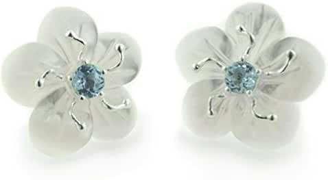 Carved Mother of Pearl Shell Daffodil Flower and Genuine Blue Topaz Sterling Silver Earrings