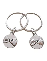 Double Pinky Promise Charm Keychains; Couple Keychains, Promise Gift
