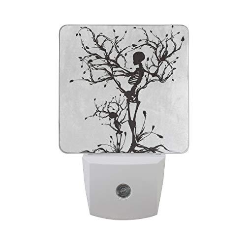 Warm White LED Plug-in Night Light Conceptual Tree of Life Sugar Skull Light Sensor Controlled Dusk to Dawn Nightlights Lamp Take Good Care Children Sleep 2 Pack