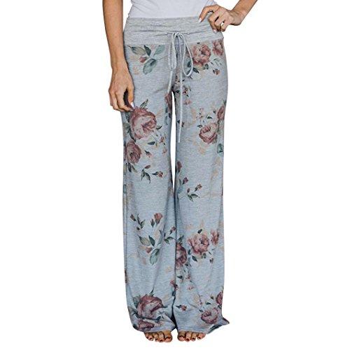 Clearance Deals Women Pants, vermers Ladies Summer Floral Prints Drawstring Wide Leg Leggings Trousers(M, Gray)