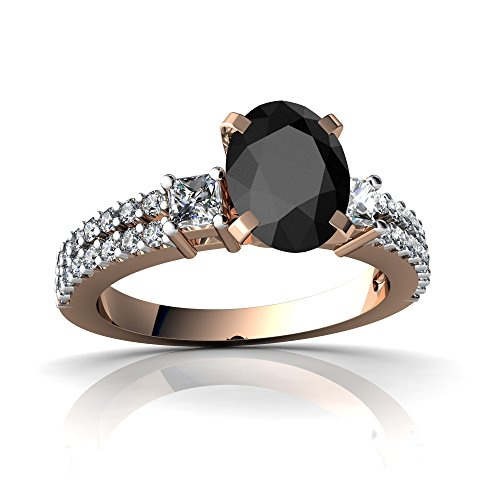14kt Rose Gold Black Onyx and Diamond 8x6mm Oval Engagement Ring - Size 9