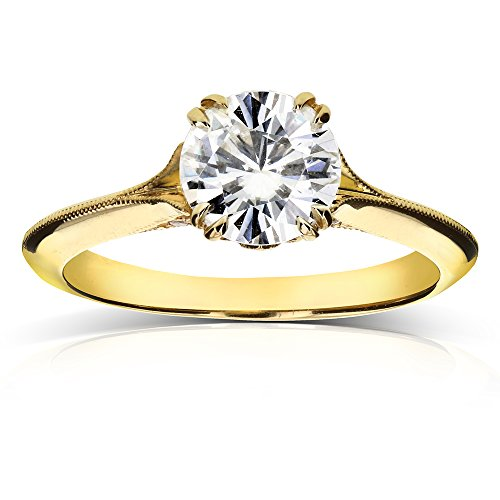 Vintage Forever One (D F) Moissanite Engagement Ring with Diamond 1 1/10 CTW 14k Yellow Gold
