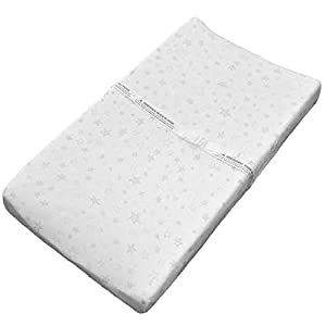 Super Soft Changing Pad Covers, Cradle Bassinet Sheets, 2 Pack – Made of Premium Bamboo Cotton Jersey, White/Grey Star, Unisex Design, by Cobei Homegoods
