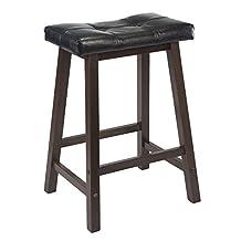 Winsome Wood Mona 24-Inch Cushion Saddle Seat Stool, Black Faux Leather, Wood Legs, Rta