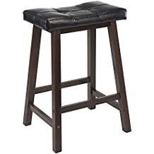 Winsome Mona 24-Inch Cushion Saddle Seat Stool, Black Faux Leather, Wood Legs, RTA