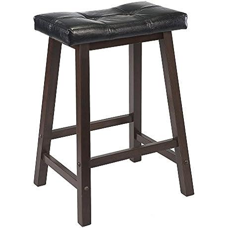 Winsome Mona 24 Inch Cushion Saddle Seat Stool Black Faux Leather Wood Legs RTA