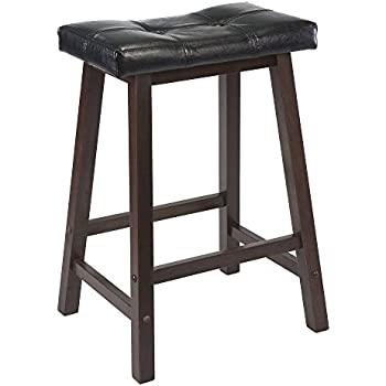 Winsome Mona 24-Inch Cushion Saddle Seat Stool Black Faux Leather Wood Legs  sc 1 st  Amazon.com : wood saddle bar stools - islam-shia.org